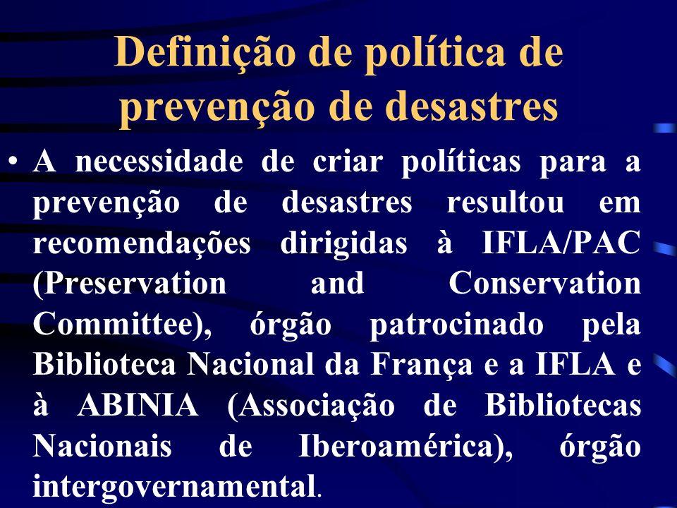 Definição de política de prevenção de desastres
