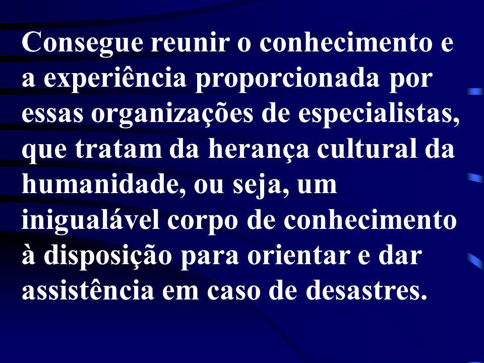 Consegue reunir o conhecimento e a experiência proporcionada por essas organizações de especialistas, que tratam da herança cultural da humanidade, ou seja, um inigualável corpo de conhecimento à disposição para orientar e dar assistência em caso de desastres.