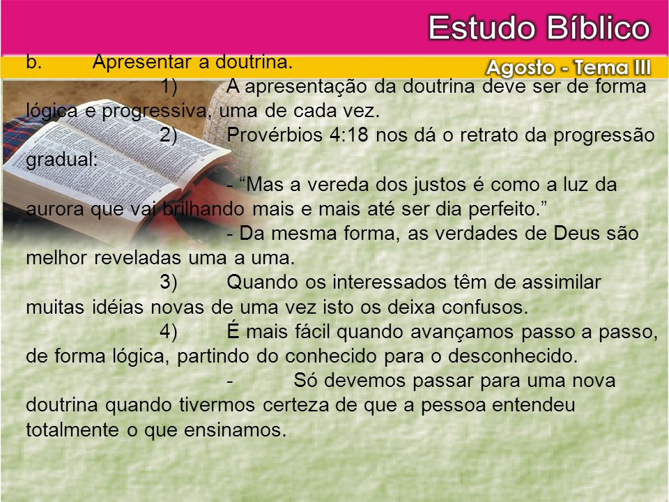 b. Apresentar a doutrina.