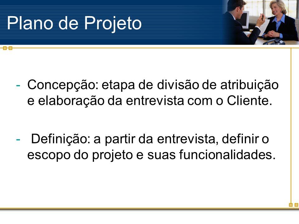 Plano de Projeto Concepção: etapa de divisão de atribuição e elaboração da entrevista com o Cliente.