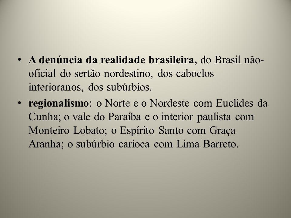A denúncia da realidade brasileira, do Brasil não-oficial do sertão nordestino, dos caboclos interioranos, dos subúrbios.