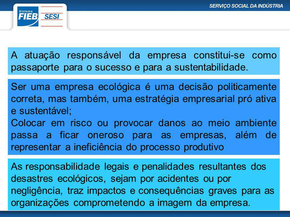 A atuação responsável da empresa constitui-se como passaporte para o sucesso e para a sustentabilidade.