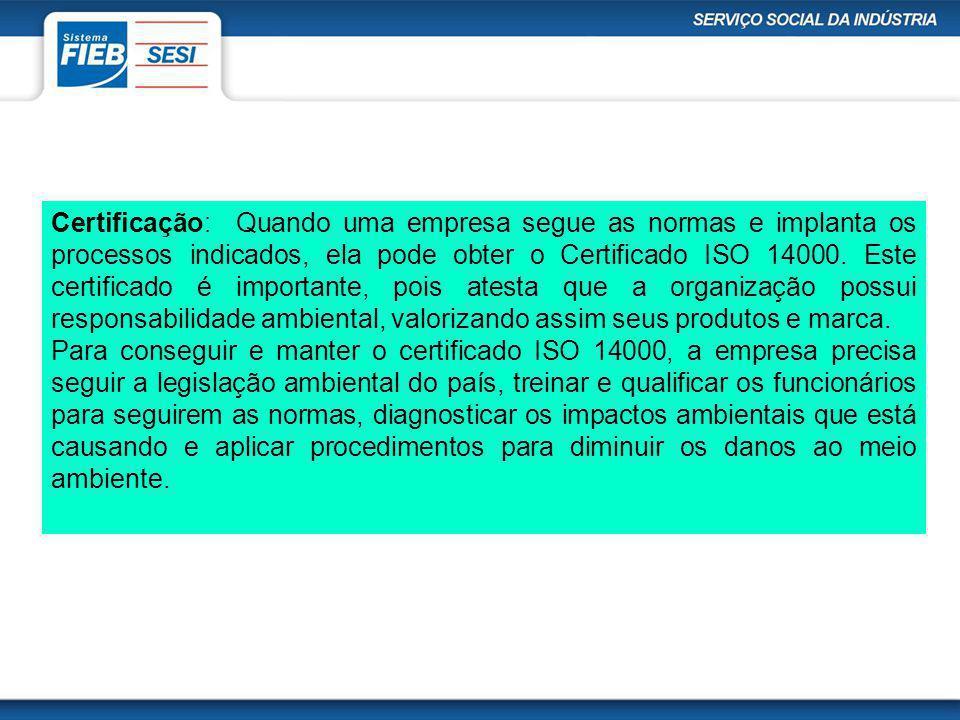 Certificação: Quando uma empresa segue as normas e implanta os processos indicados, ela pode obter o Certificado ISO 14000. Este certificado é importante, pois atesta que a organização possui responsabilidade ambiental, valorizando assim seus produtos e marca.