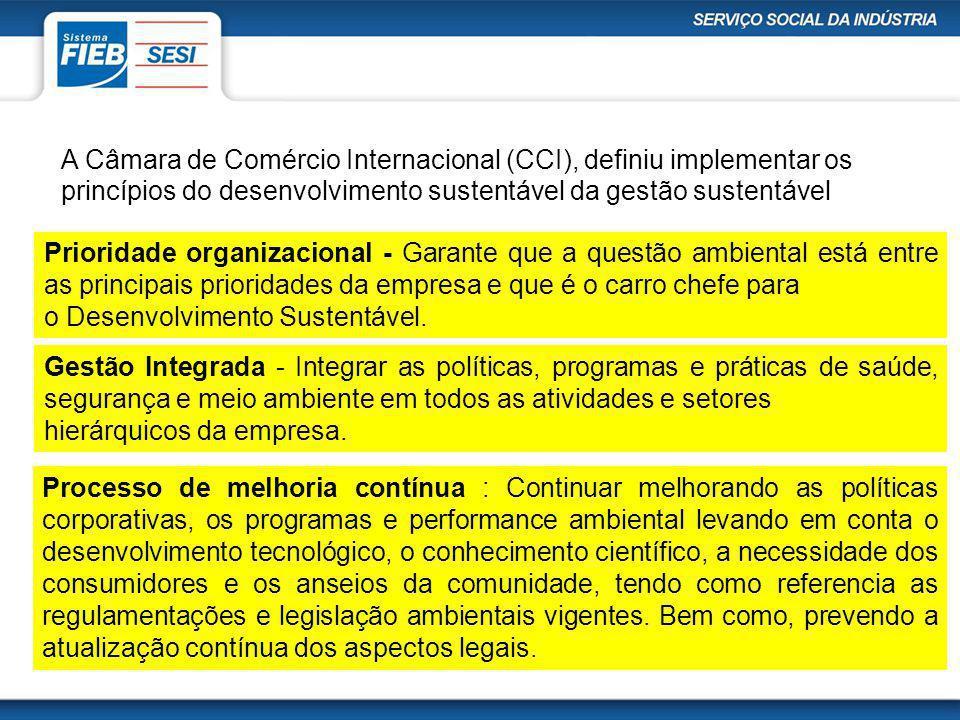 A Câmara de Comércio Internacional (CCI), definiu implementar os princípios do desenvolvimento sustentável da gestão sustentável