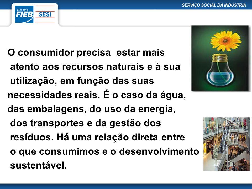 O consumidor precisa estar mais atento aos recursos naturais e à sua utilização, em função das suas necessidades reais.