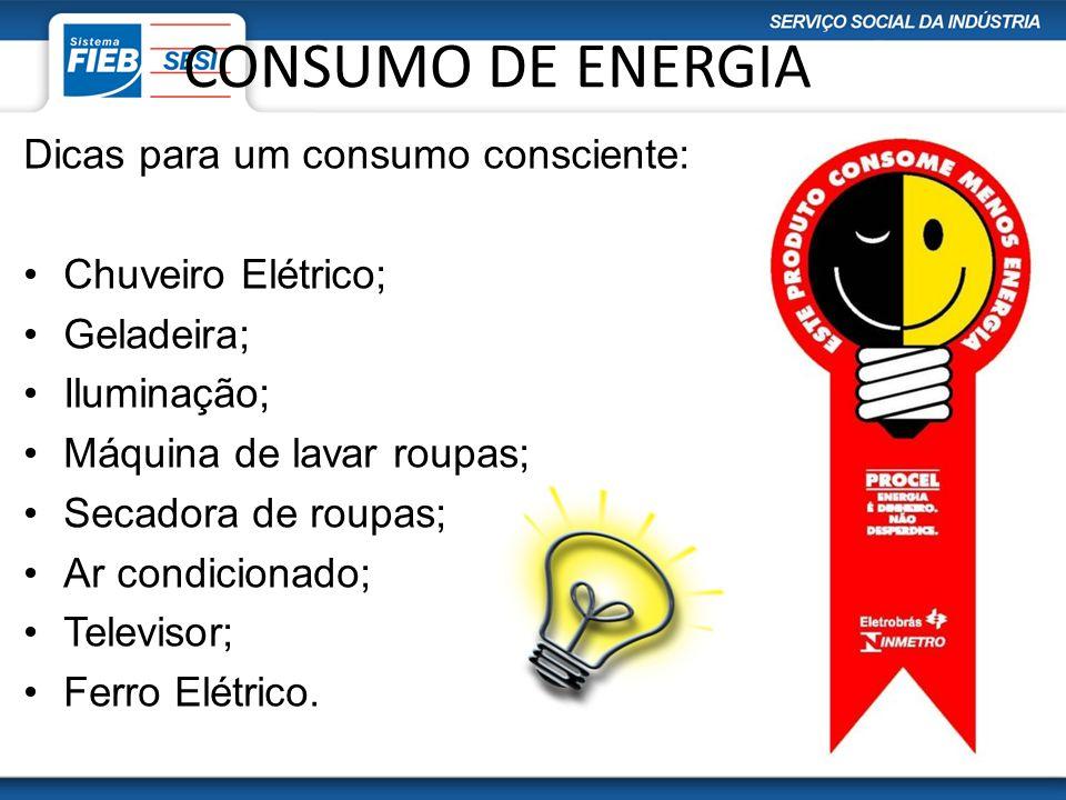 CONSUMO DE ENERGIA Dicas para um consumo consciente: