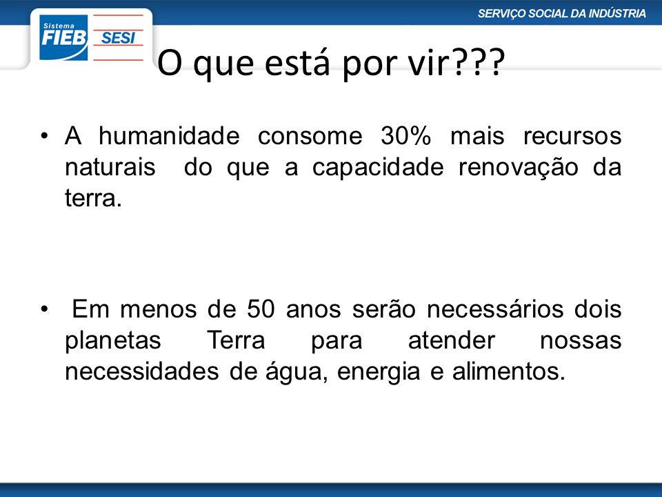 O que está por vir A humanidade consome 30% mais recursos naturais do que a capacidade renovação da terra.