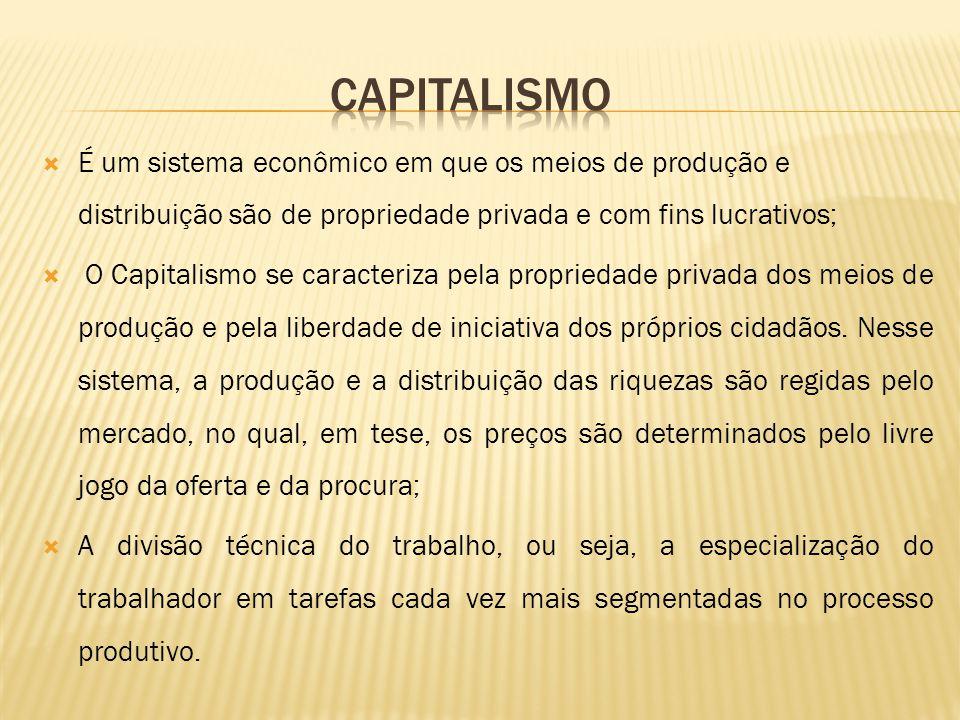 CAPITALISMO É um sistema econômico em que os meios de produção e distribuição são de propriedade privada e com fins lucrativos;