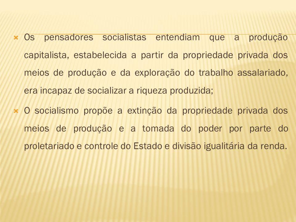Os pensadores socialistas entendiam que a produção capitalista, estabelecida a partir da propriedade privada dos meios de produção e da exploração do trabalho assalariado, era incapaz de socializar a riqueza produzida;