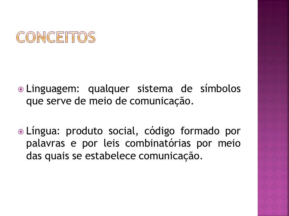 Conceitos Linguagem: qualquer sistema de símbolos que serve de meio de comunicação.