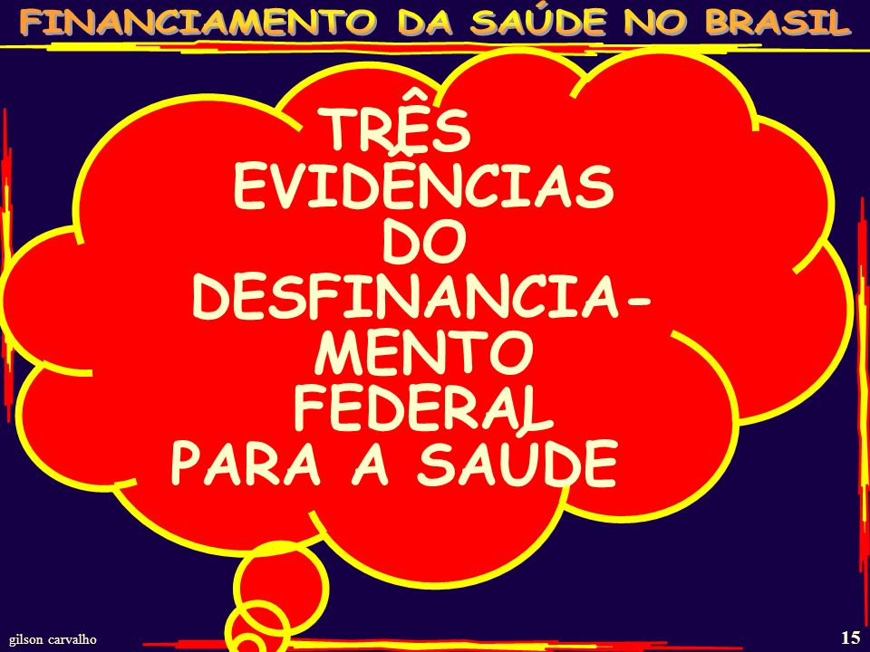 TRÊS EVIDÊNCIAS DO DESFINANCIA-MENTO FEDERAL