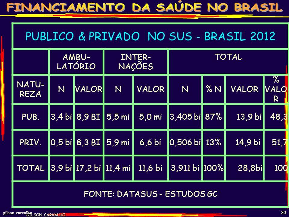 PUBLICO & PRIVADO NO SUS - BRASIL 2012