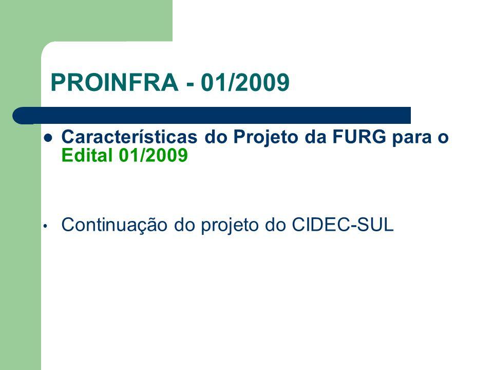 PROINFRA - 01/2009 Características do Projeto da FURG para o Edital 01/2009.