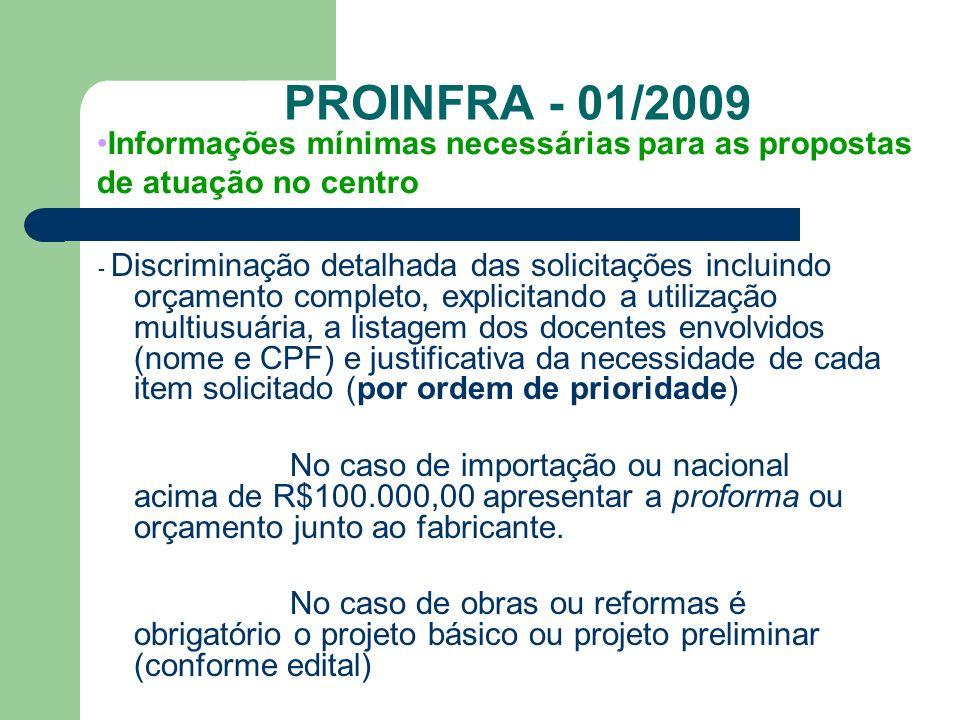 PROINFRA - 01/2009 Informações mínimas necessárias para as propostas de atuação no centro.