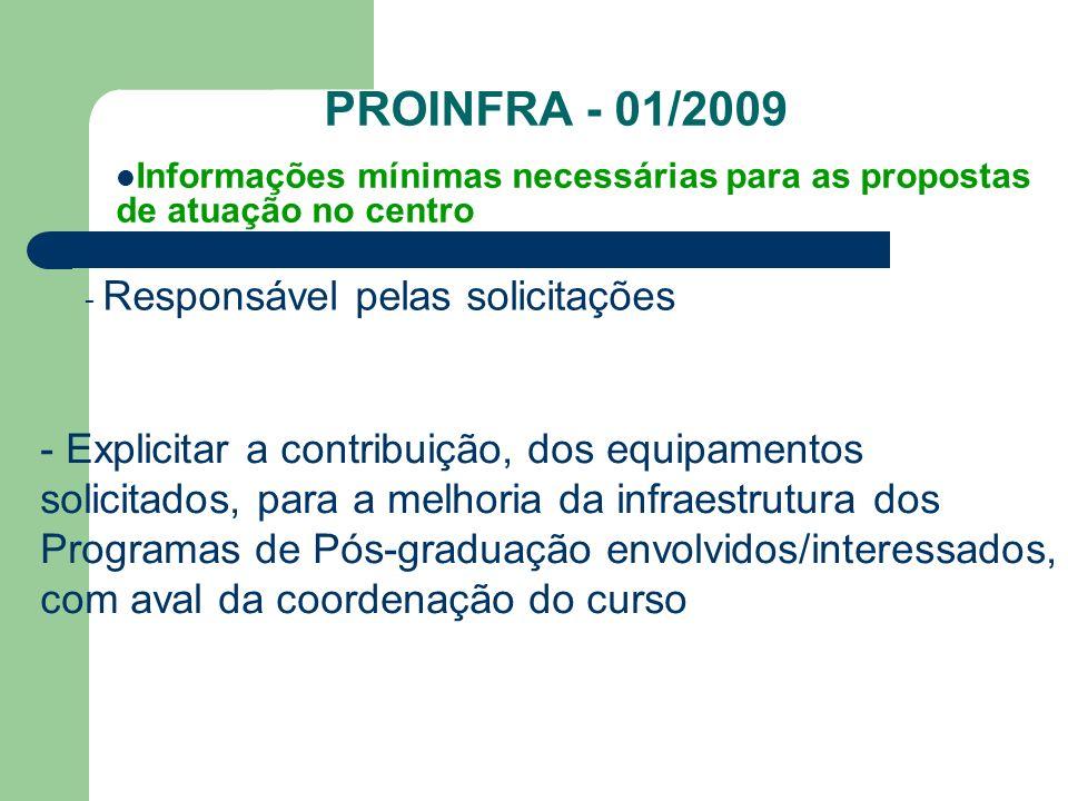 PROINFRA - 01/2009 Informações mínimas necessárias para as propostas de atuação no centro. - Responsável pelas solicitações.