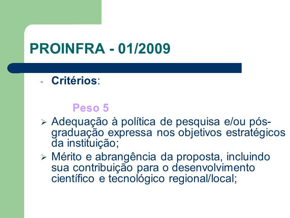 PROINFRA - 01/2009 Critérios: Peso 5