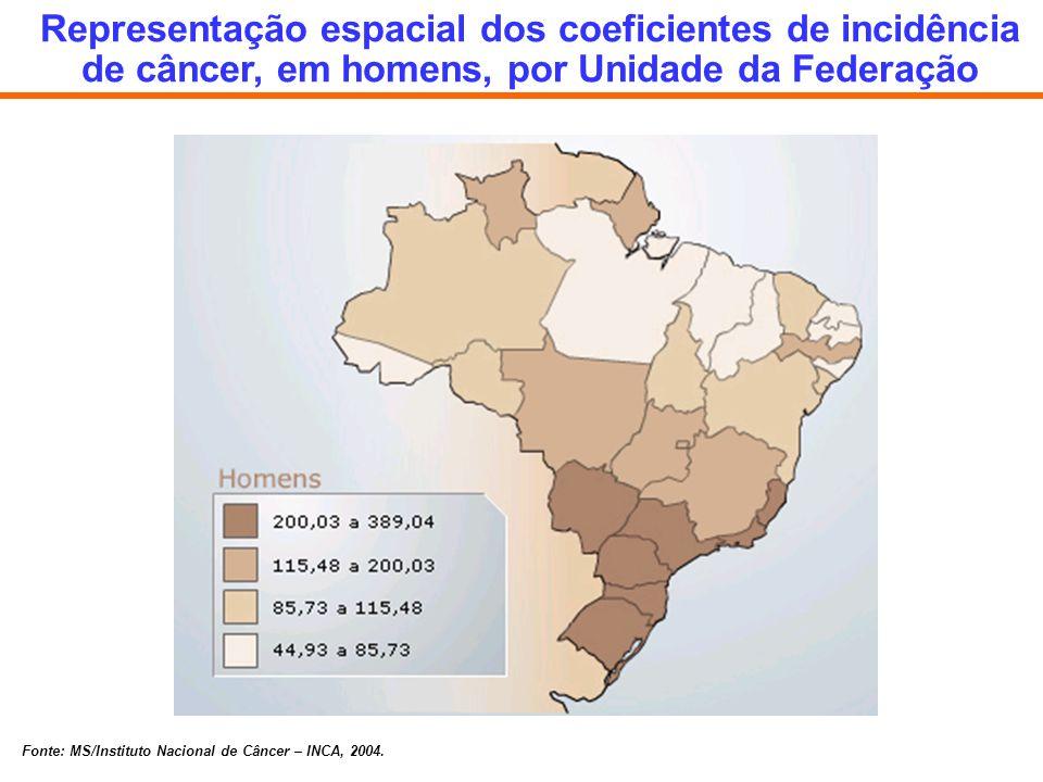 Representação espacial dos coeficientes de incidência de câncer, em homens, por Unidade da Federação