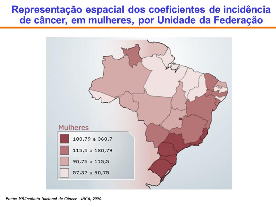 Representação espacial dos coeficientes de incidência de câncer, em mulheres, por Unidade da Federação
