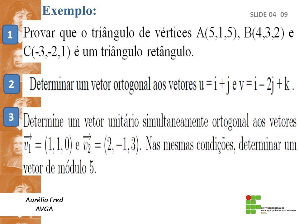 Exemplo: SLIDE 04- 09 1 2 3 Aurélio Fred AVGA