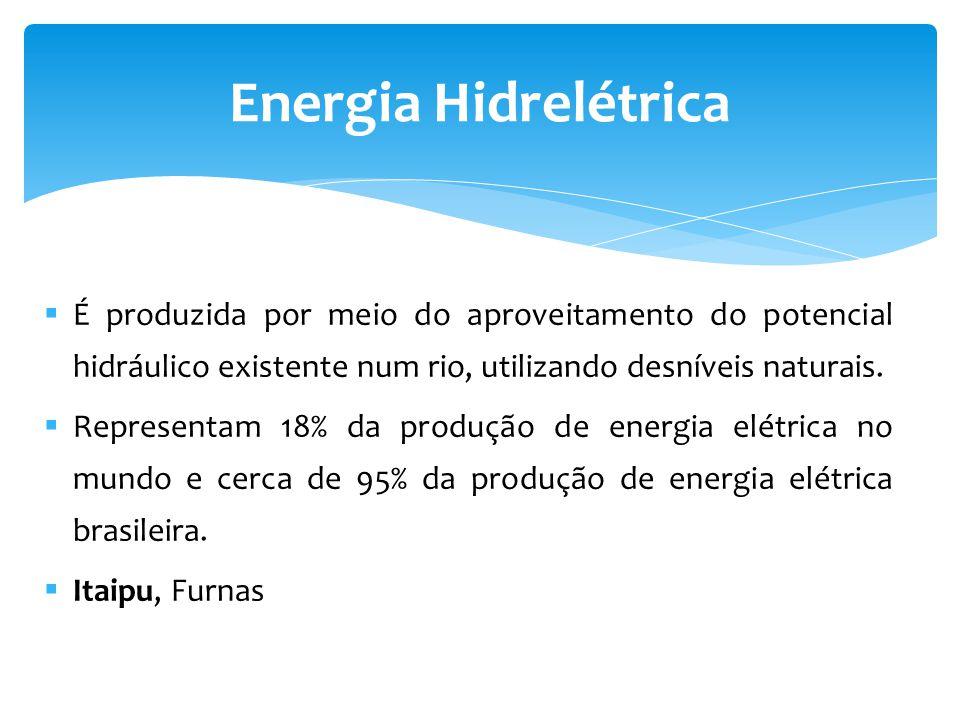 Energia Hidrelétrica É produzida por meio do aproveitamento do potencial hidráulico existente num rio, utilizando desníveis naturais.