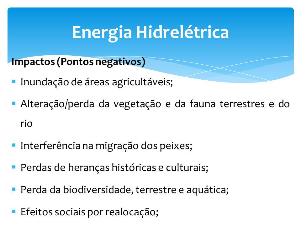 Energia Hidrelétrica Impactos (Pontos negativos)
