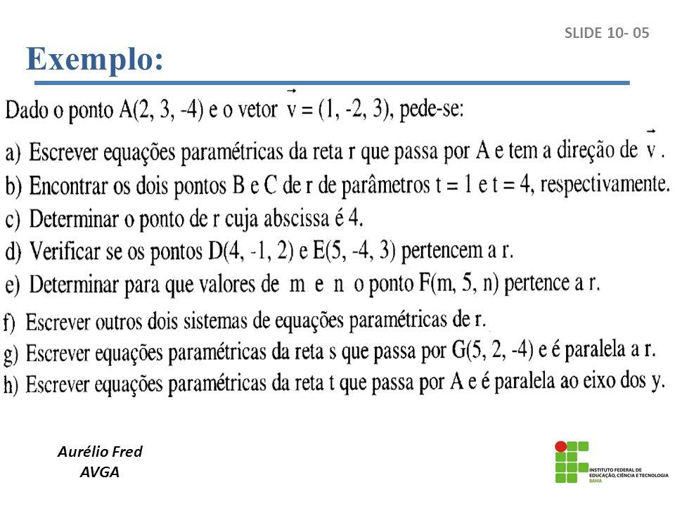 Exemplo: SLIDE 10- 05 Aurélio Fred AVGA