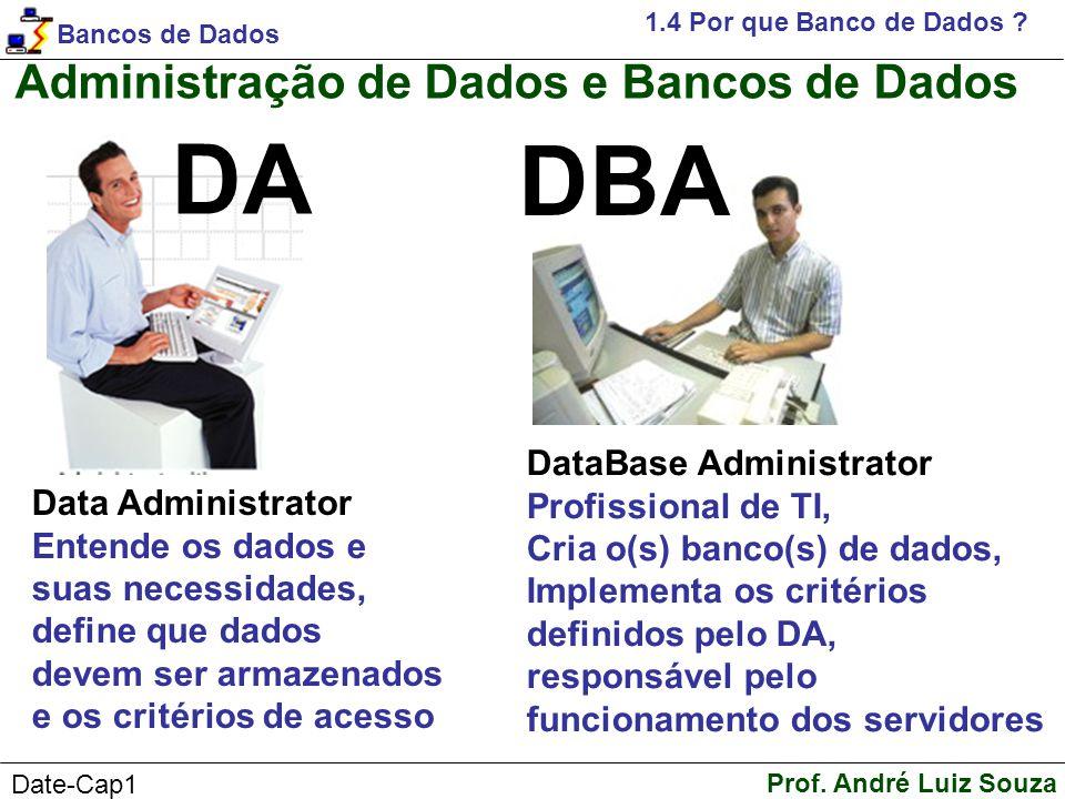 DA DBA Administração de Dados e Bancos de Dados DataBase Administrator