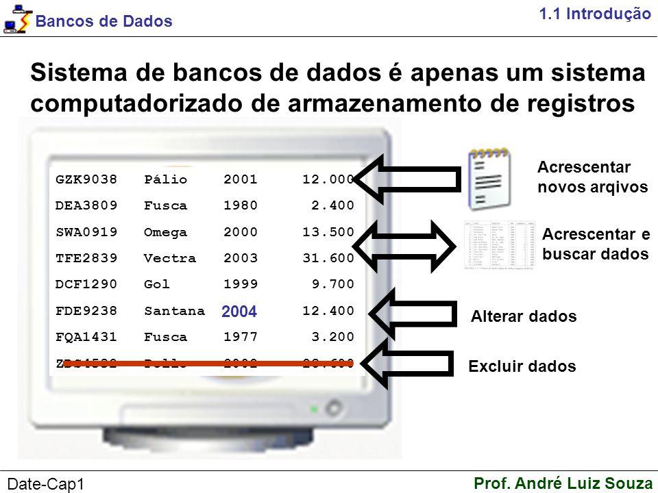 1.1 Introdução Sistema de bancos de dados é apenas um sistema computadorizado de armazenamento de registros.