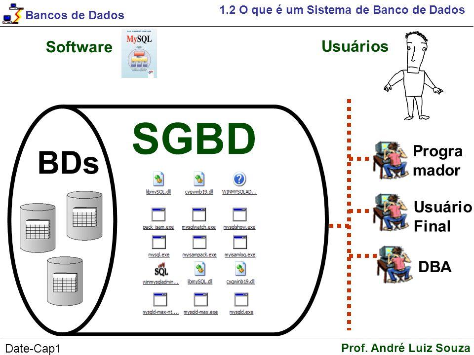 SGBD BDs Software Usuários Progra mador Usuário Final DBA