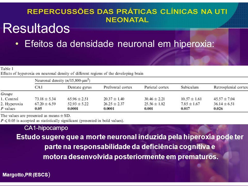 Resultados Efeitos da densidade neuronal em hiperoxia: