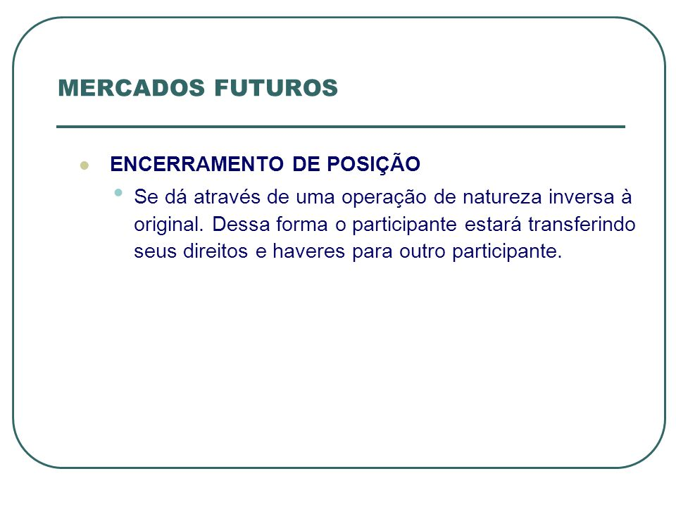 MERCADOS FUTUROS ENCERRAMENTO DE POSIÇÃO