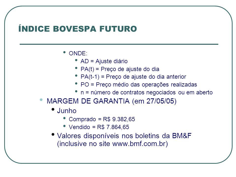 ÍNDICE BOVESPA FUTURO MARGEM DE GARANTIA (em 27/05/05) Junho
