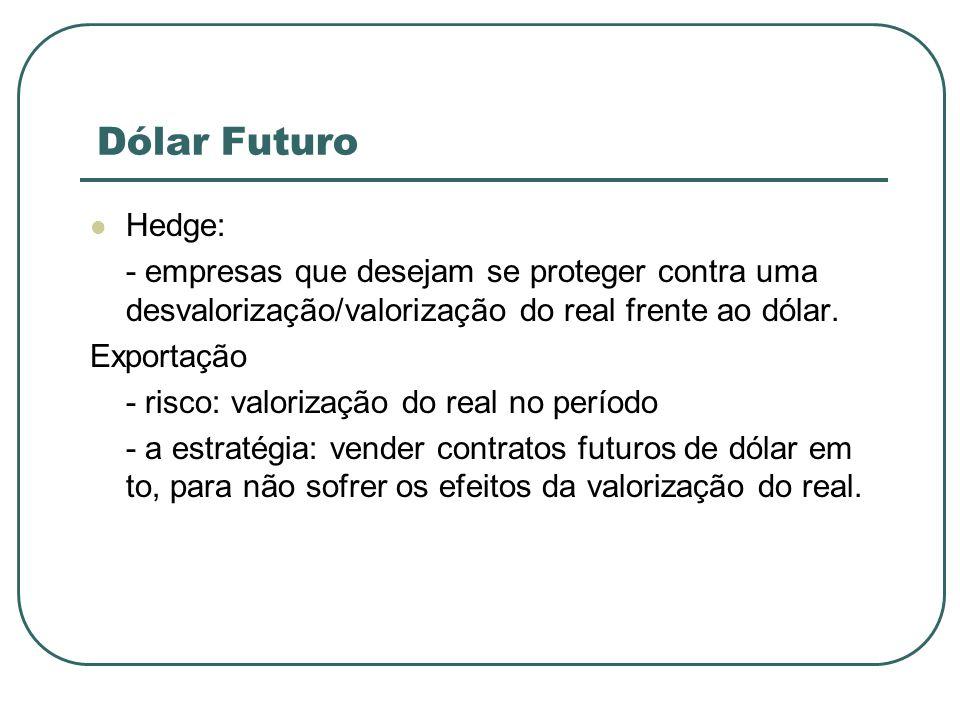 Dólar Futuro Hedge: - empresas que desejam se proteger contra uma desvalorização/valorização do real frente ao dólar.