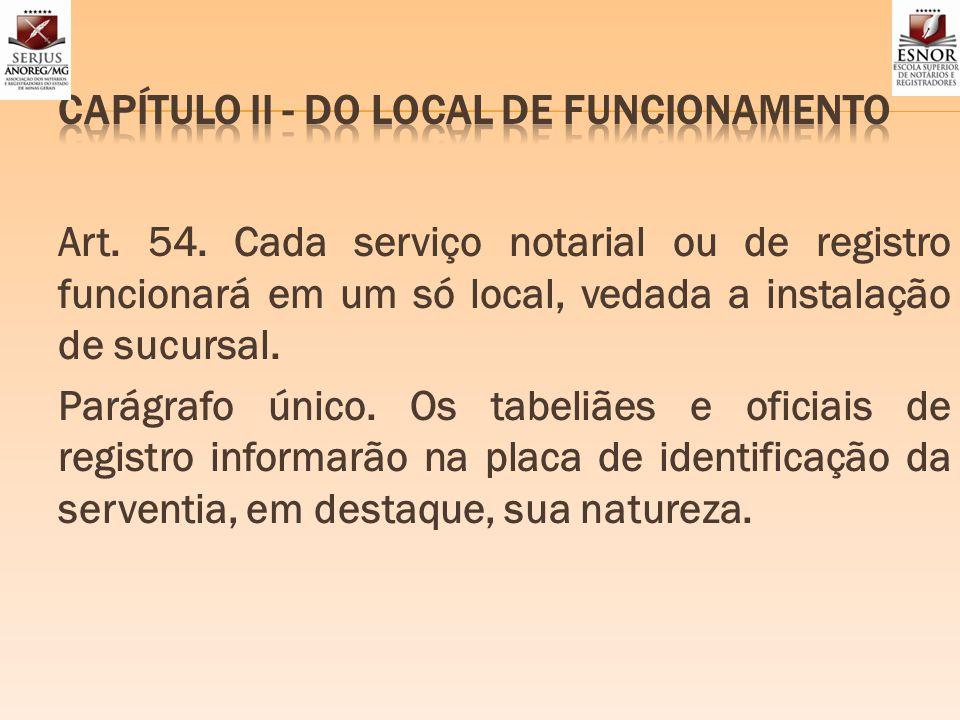 CAPÍTULO II - DO LOCAL DE FUNCIONAMENTO