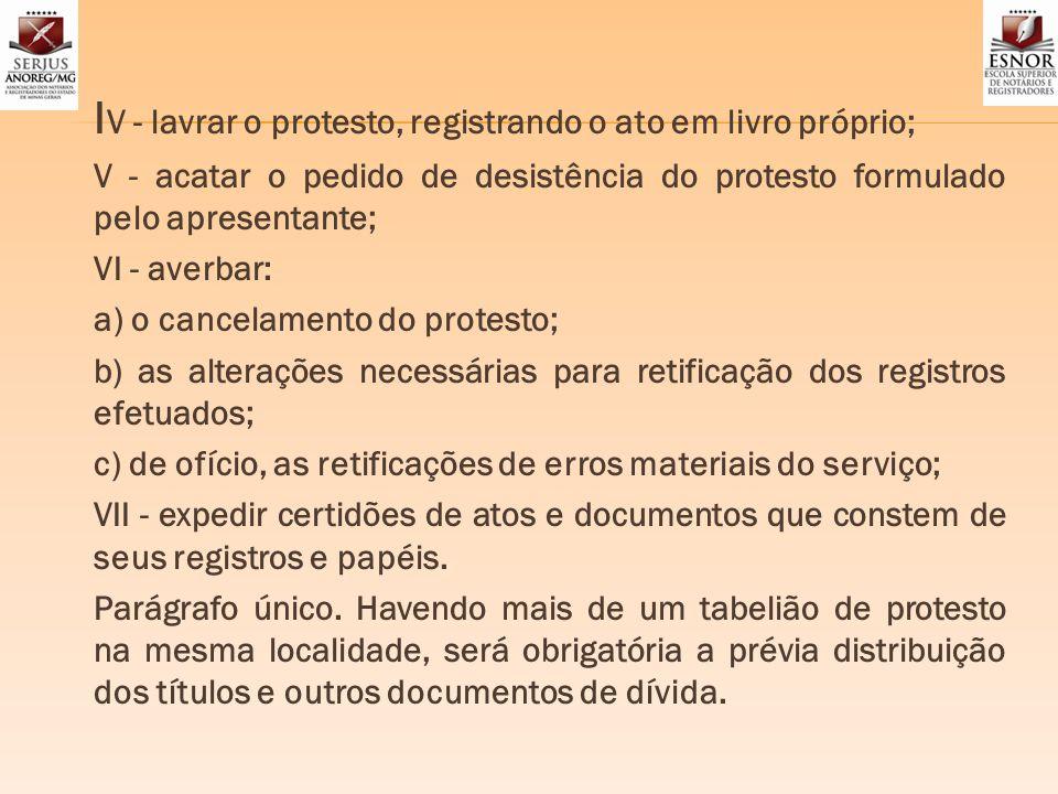 IV - lavrar o protesto, registrando o ato em livro próprio;
