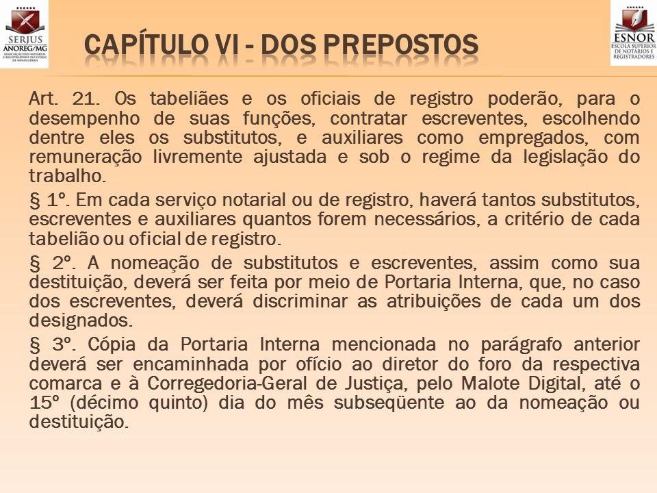 CAPÍTULO VI - DOS PREPOSTOS