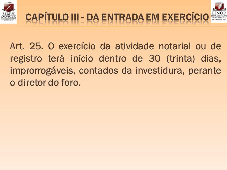 CAPÍTULO III - DA ENTRADA EM EXERCÍCIO