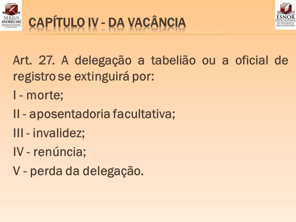 CAPÍTULO IV - DA VACÂNCIA