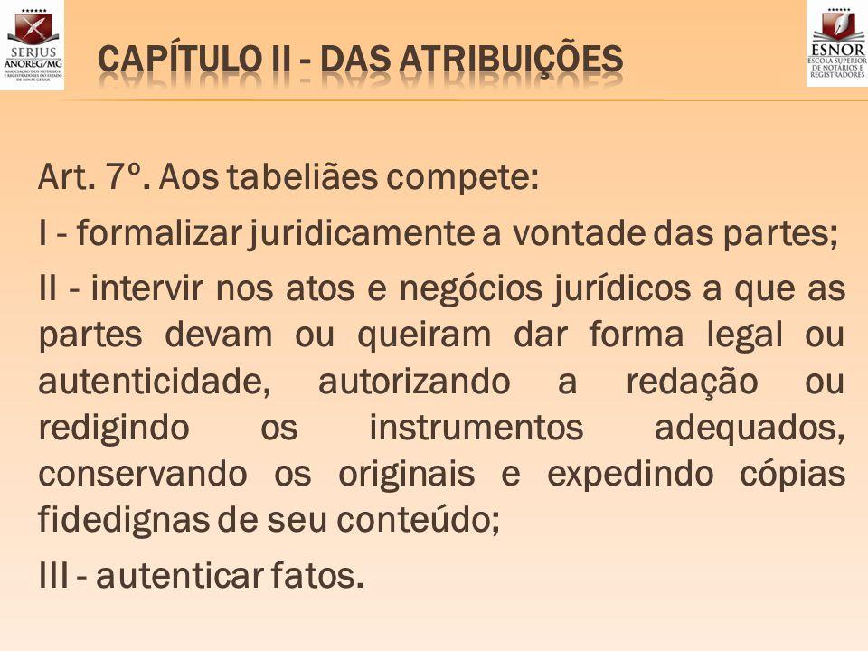 CAPÍTULO II - DAS ATRIBUIÇÕES