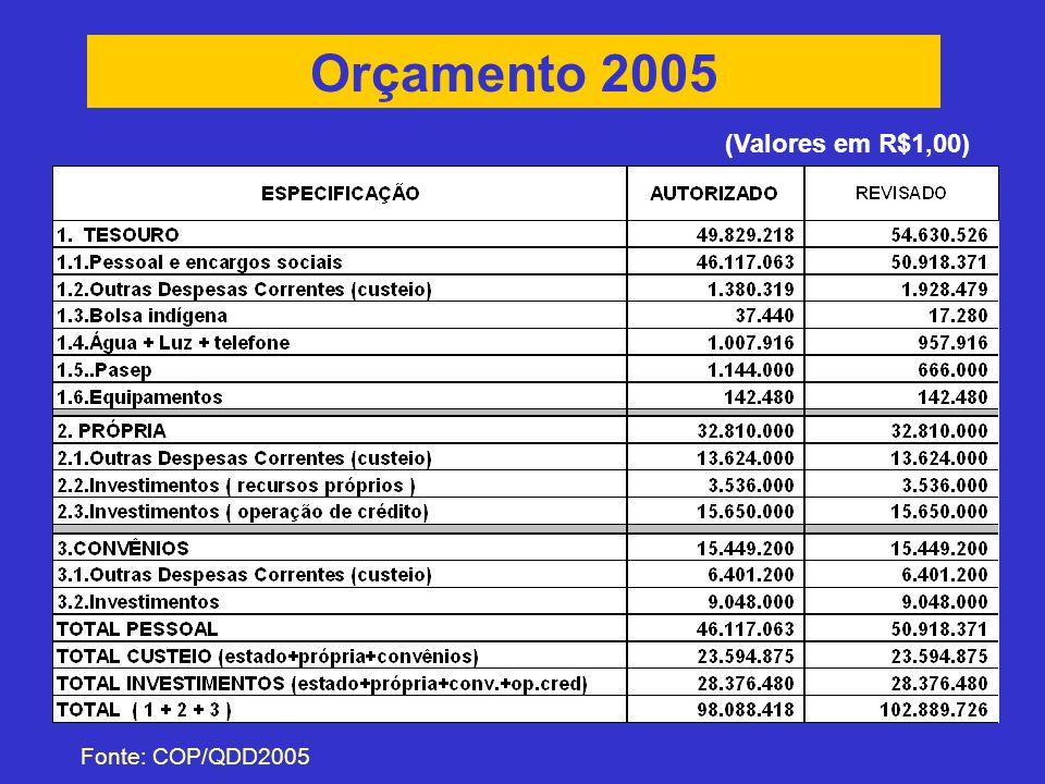 Orçamento 2005 (Valores em R$1,00) Fonte: COP/QDD2005