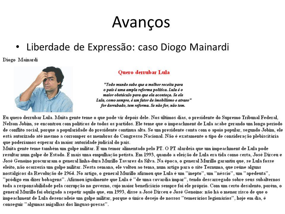 Avanços Liberdade de Expressão: caso Diogo Mainardi