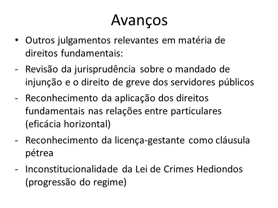 Avanços Outros julgamentos relevantes em matéria de direitos fundamentais: