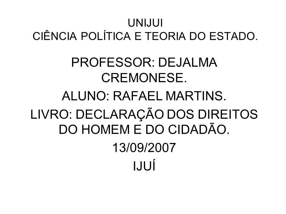 UNIJUI CIÊNCIA POLÍTICA E TEORIA DO ESTADO.
