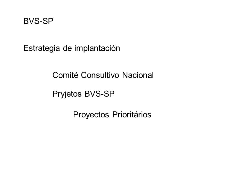 BVS-SP Estrategia de implantación Comité Consultivo Nacional Pryjetos BVS-SP Proyectos Prioritários