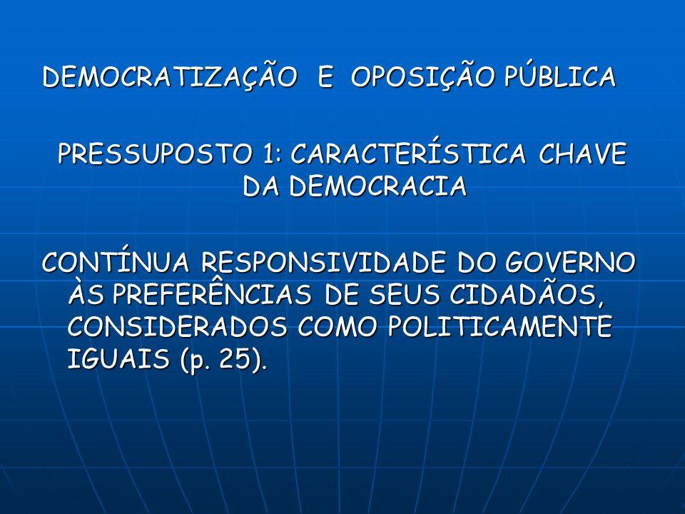 PRESSUPOSTO 1: CARACTERÍSTICA CHAVE DA DEMOCRACIA