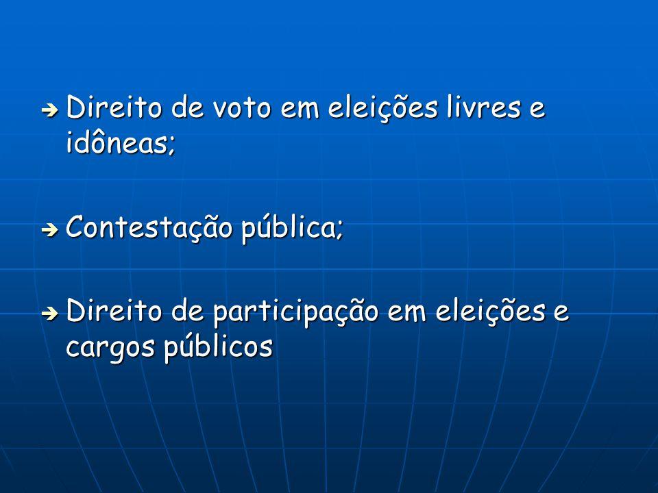 Direito de voto em eleições livres e idôneas;