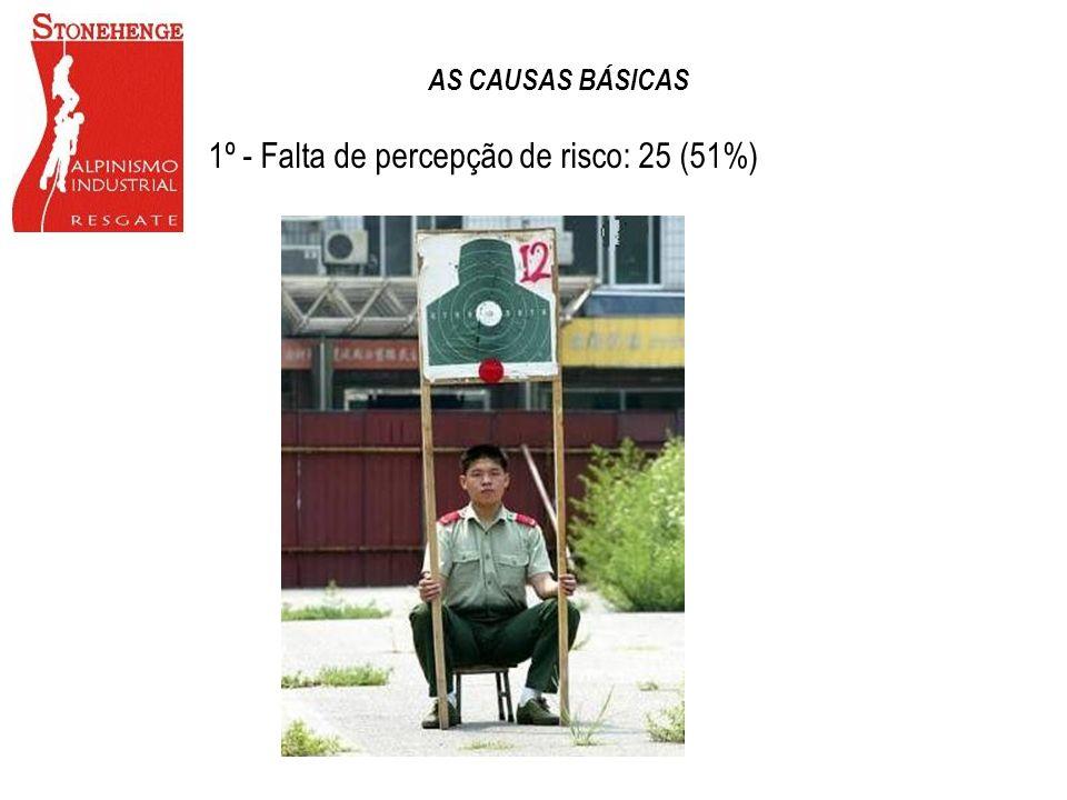 1º - Falta de percepção de risco: 25 (51%)