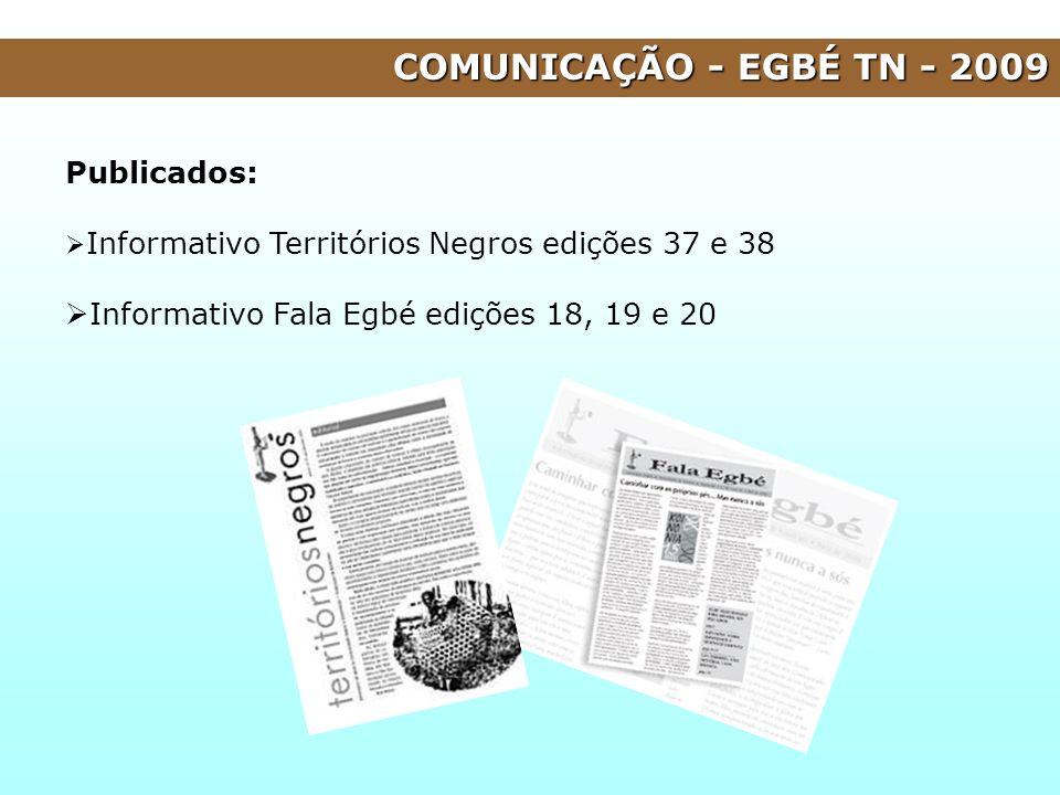 COMUNICAÇÃO - EGBÉ TN - 2009 Publicados: