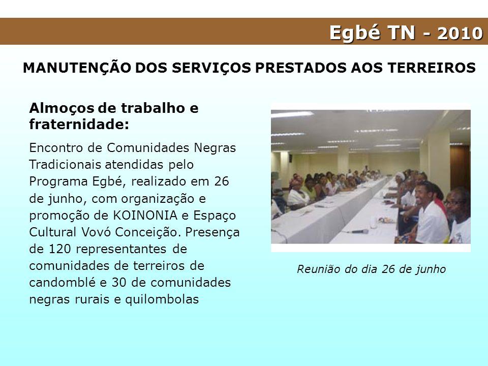 MANUTENÇÃO DOS SERVIÇOS PRESTADOS AOS TERREIROS