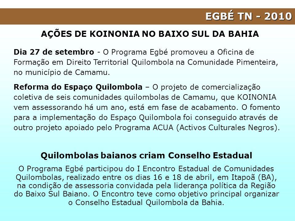 AÇÕES DE KOINONIA NO BAIXO SUL DA BAHIA